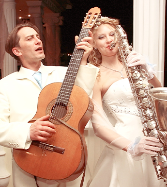 Bride and Groom Playing Instruments