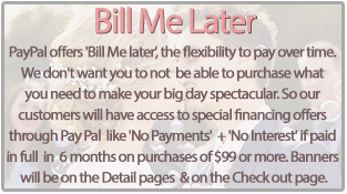 Bill Me Later - PayPal offers 'Bill Me later', the flexibility to pay over time. We don't want you to not  be able to purchase what you need to make your big day spectacular. So our customers  will have access to special financing offers through Pay Pal  like 'No Payments'  + 'No Interest' if paid in full in 6 months on purchases of $99 or more. Banners will be on the Detail pages  & on the Check out page.
