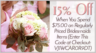 15% Off When You Spend $75 on Bridesmaid Items